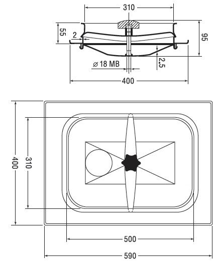 Люк нержавеющий прямоугольный схема B16