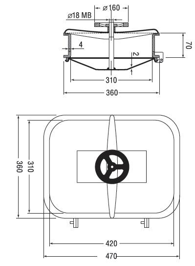 Люк нержавеющий прямоугольный схема B17