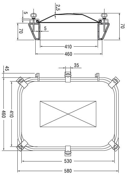 Люк нержавеющий прямоугольный схема B18