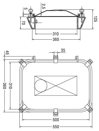 Люк нержавеющий прямоугольный схема B19