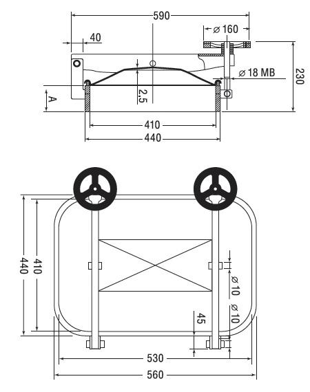 Люк нержавеющий прямоугольный схема B2