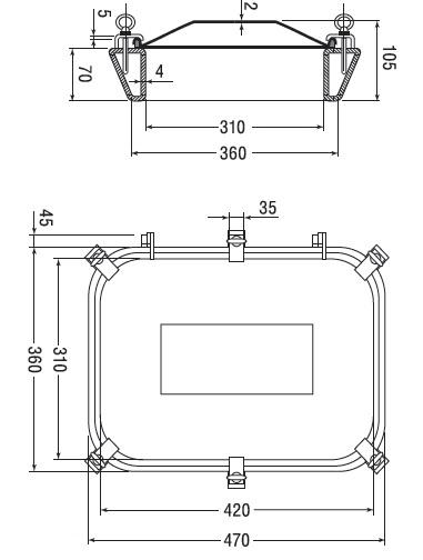 Люк нержавеющий прямоугольный схема B20