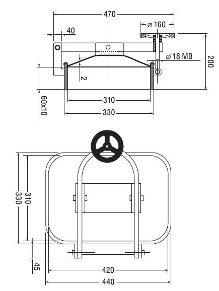 Люк нержавеющий прямоугольный схема B5