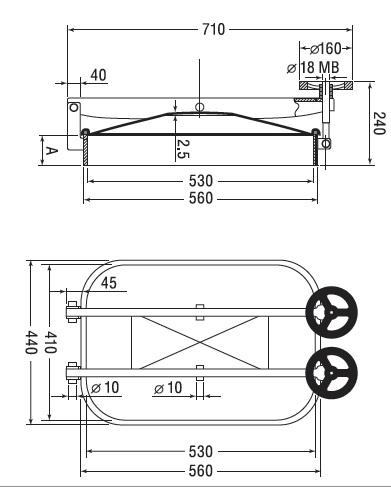 Люк нержавеющий прямоугольный схема B6