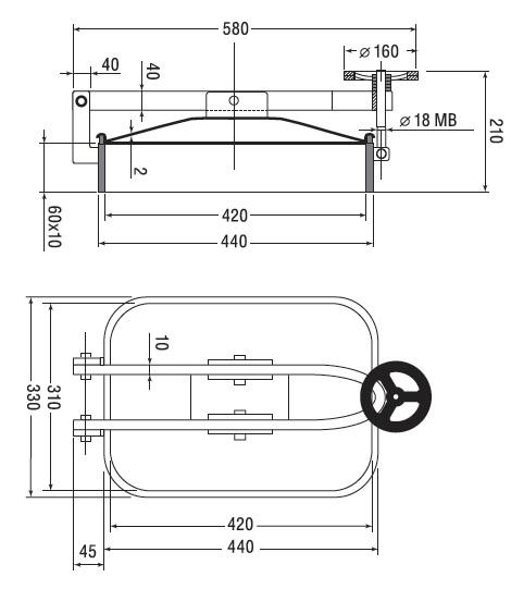 Люк нержавеющий прямоугольный схема B7