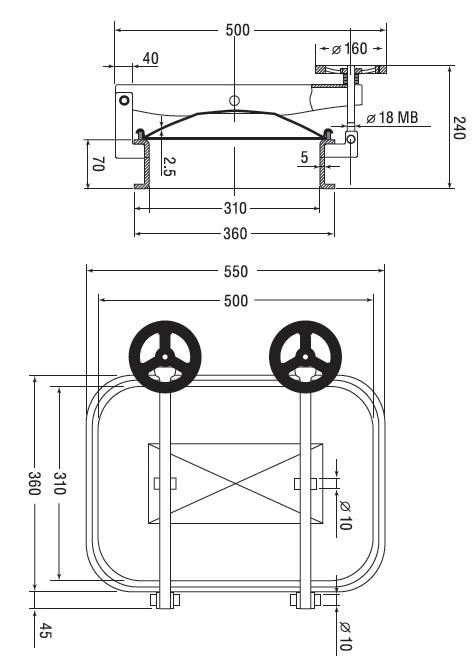 Люк нержавеющий прямоугольный схема B9