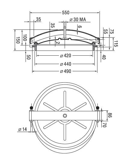 Люк нержавеющий круглый схема C1