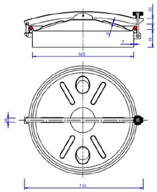 Люк нержавеющий круглый схема C10