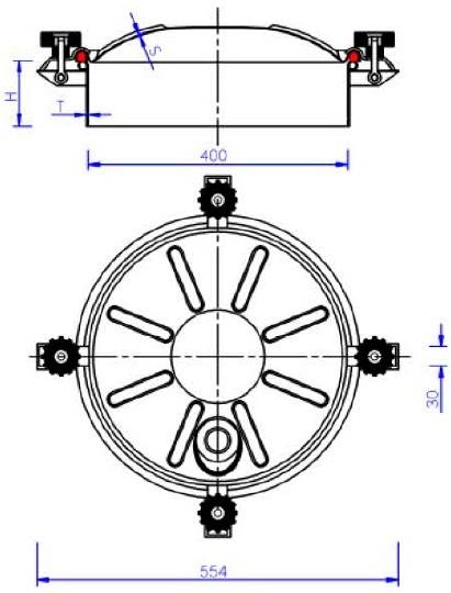 Люк нержавеющий круглый схема C11