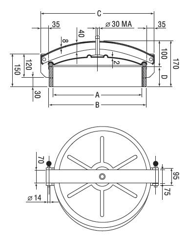 Люк нержавеющий круглый схема C3