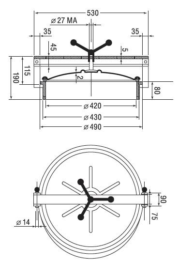 Люк нержавеющий круглый схема C4