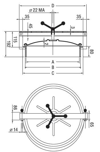 Люк нержавеющий круглый схема C5