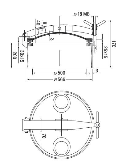Люк нержавеющий круглый схема D1