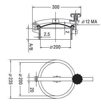 Люк нержавеющий круглый схема D10