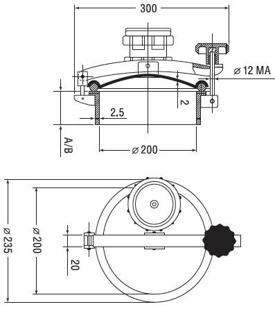 Люк нержавеющий круглый схема D11