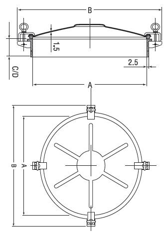 Люк нержавеющий круглый схема D12