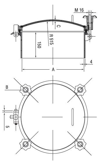 Люк нержавеющий круглый схема D13