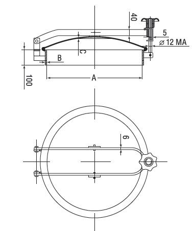 Люк нержавеющий круглый схема D15