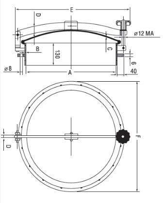Люк нержавеющий круглый схема D17