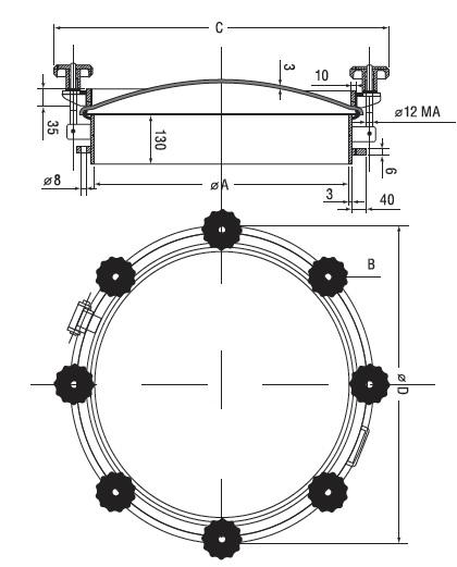 Люк нержавеющий круглый схема D18