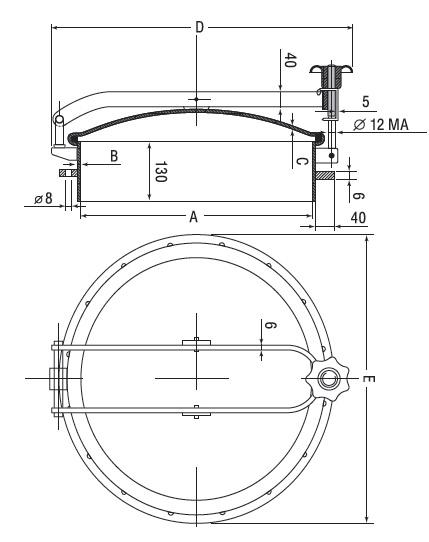 Люк нержавеющий круглый схема D19