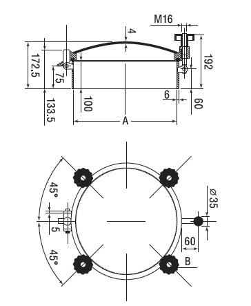 Люк нержавеющий круглый схема D2