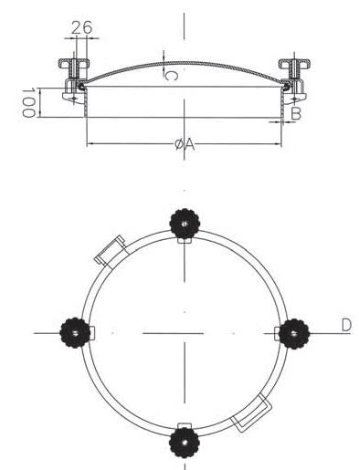 Люк нержавеющий круглый схема D20