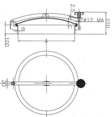 Люк нержавеющий круглый схема D22