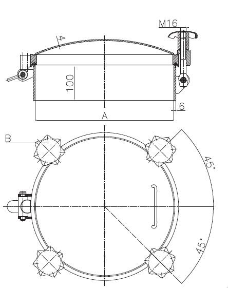 Люк нержавеющий круглый схема D25