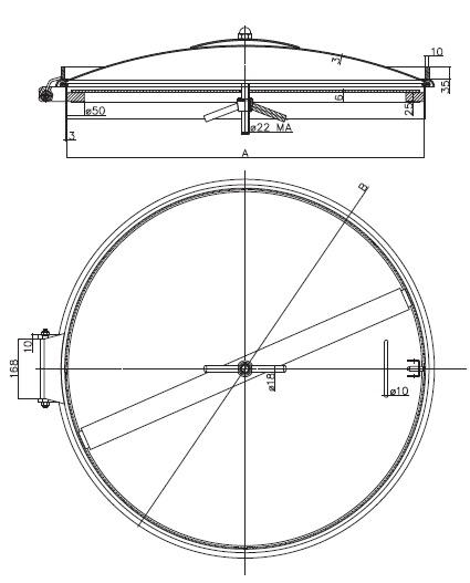 Люк нержавеющий круглый схема D28