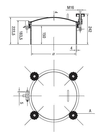 Люк нержавеющий круглый схема D3