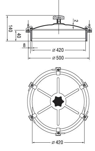 Люк нержавеющий круглый схема D4