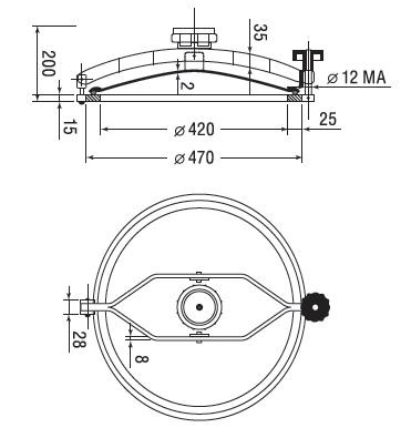 Люк нержавеющий круглый схема D5