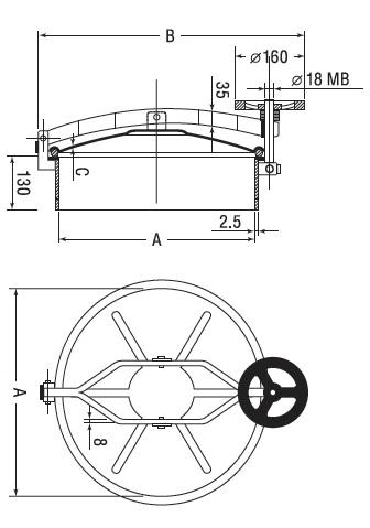 Люк нержавеющий круглый схема D6