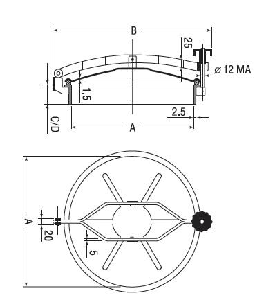 Люк нержавеющий круглый схема D7