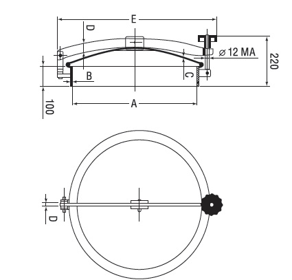 Люк нержавеющий круглый схема D8
