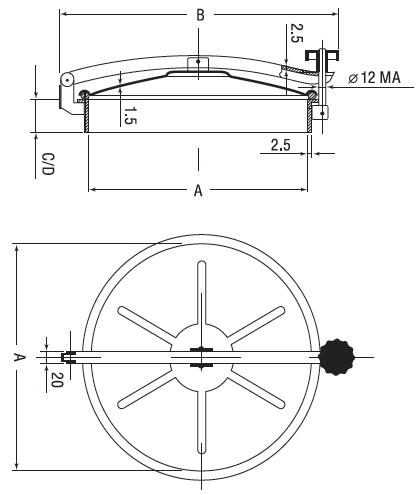 Люк нержавеющий круглый схема D9