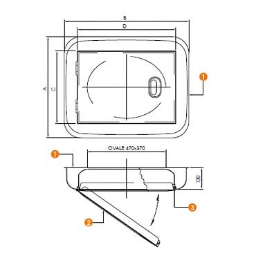 Люк нержавеющий прямоугольный схема L07F
