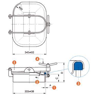 Люк нержавеющий прямоугольный схема L10