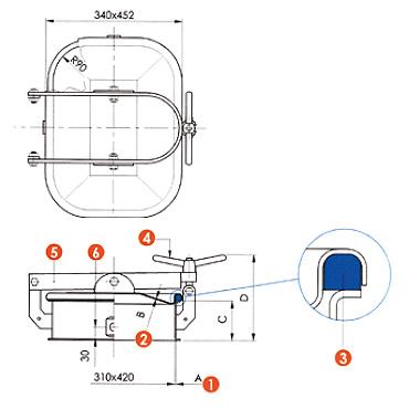 Люк нержавеющий прямоугольный схема L10CM