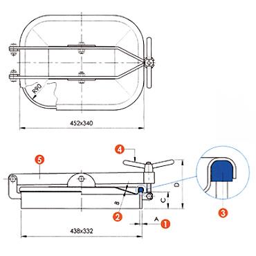 Люк нержавеющий прямоугольный схема L10E