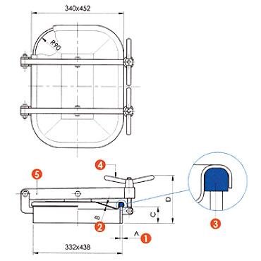 Люк нержавеющий прямоугольный схема L10G