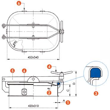 Люк нержавеющий прямоугольный схема L10LCM