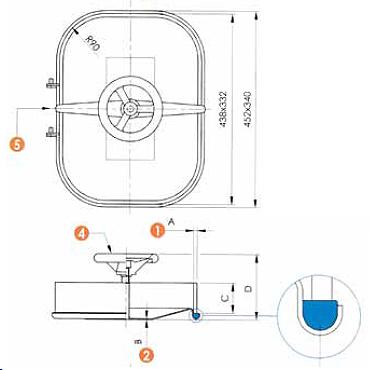 Люк нержавеющий прямоугольный схема L11
