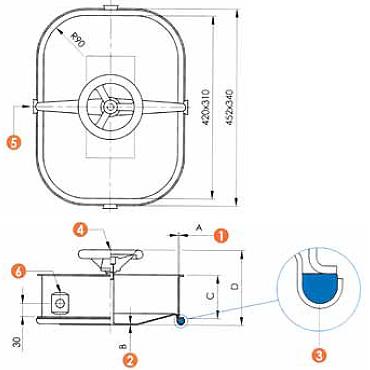 Люк нержавеющий прямоугольный схема L11CM