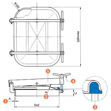 Люк нержавеющий прямоугольный схема L12