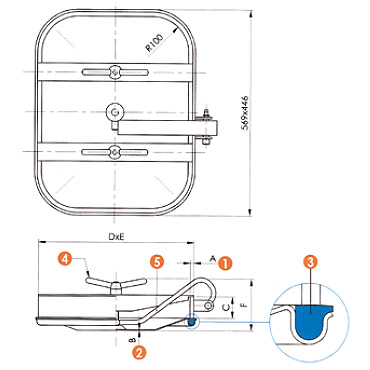 Люк нержавеющий прямоугольный схема L12E
