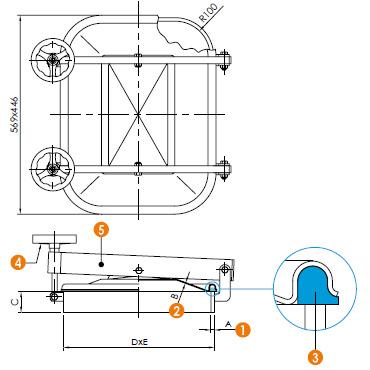 Люк нержавеющий прямоугольный схема L12ECO