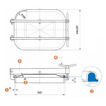 Люк нержавеющий прямоугольный схема L13
