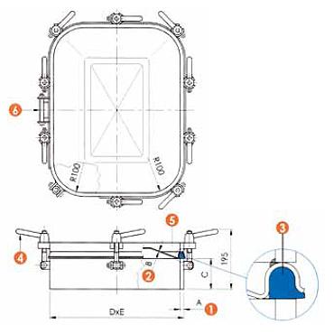 Люк нержавеющий прямоугольный схема L14